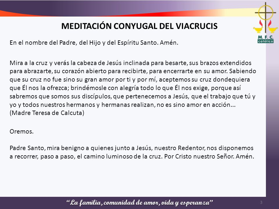 MEDITACIÓN CONYUGAL DEL VIACRUCIS