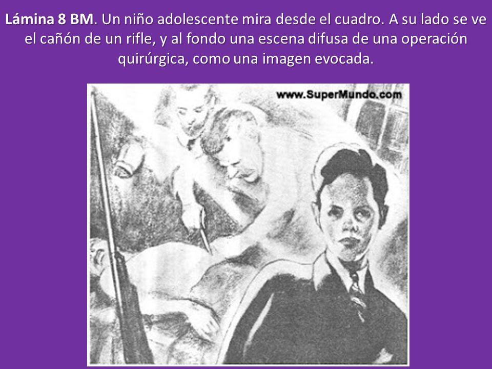 Lámina 8 BM. Un niño adolescente mira desde el cuadro