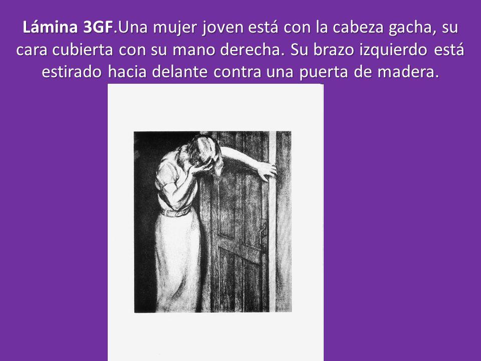 Lámina 3GF.Una mujer joven está con la cabeza gacha, su cara cubierta con su mano derecha.