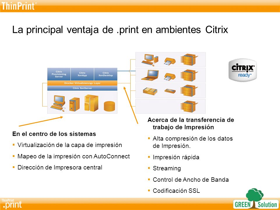 La principal ventaja de .print en ambientes Citrix