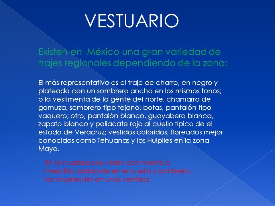 VESTUARIO Existen en México una gran variedad de trajes regionales dependiendo de la zona: