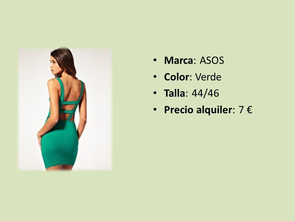 Marca: ASOS Color: Verde Talla: 44/46 Precio alquiler: 7 €