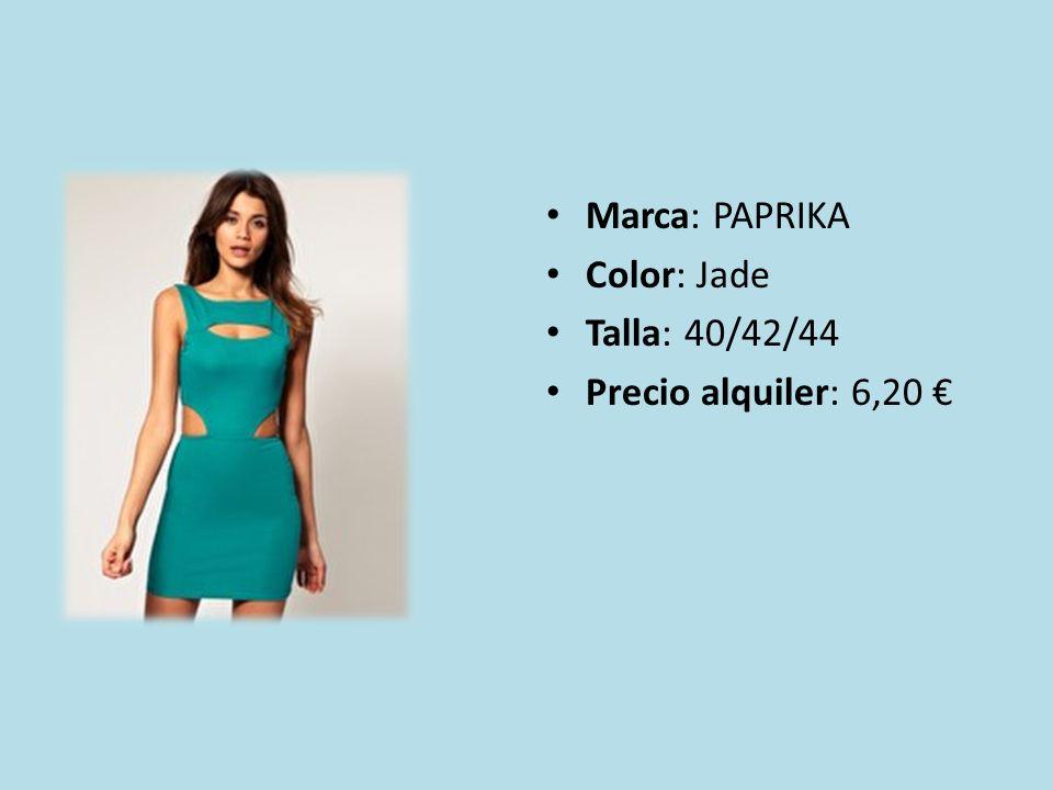 Marca: PAPRIKA Color: Jade Talla: 40/42/44 Precio alquiler: 6,20 €