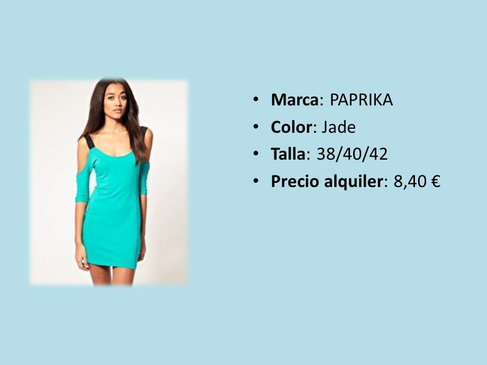 Marca: PAPRIKA Color: Jade Talla: 38/40/42 Precio alquiler: 8,40 €