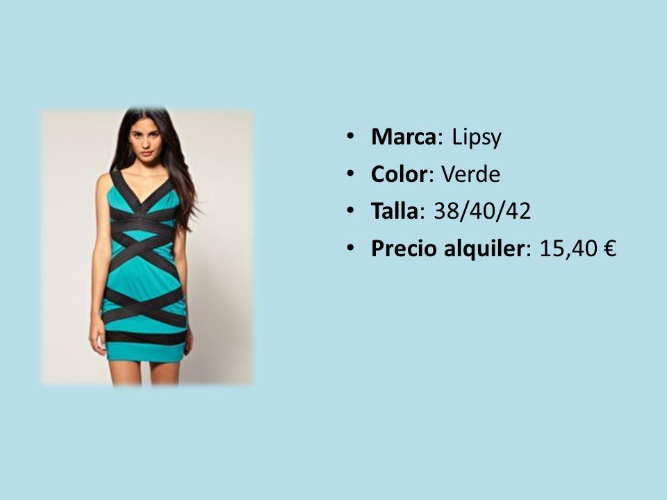 Marca: Lipsy Color: Verde Talla: 38/40/42 Precio alquiler: 15,40 €