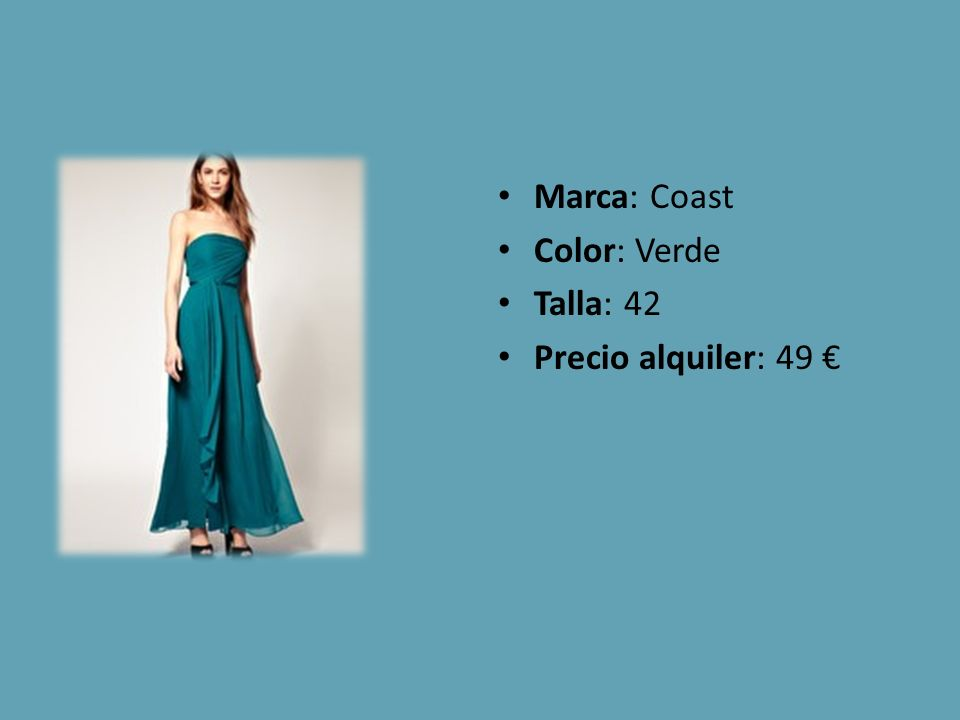 Marca: Coast Color: Verde Talla: 42 Precio alquiler: 49 €