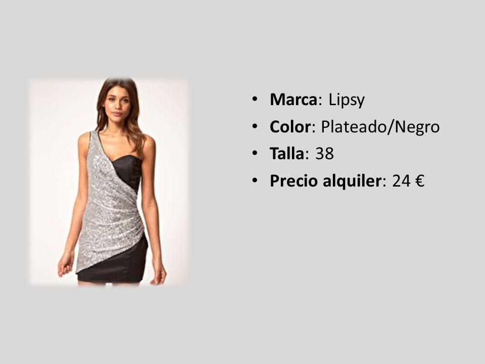 Marca: Lipsy Color: Plateado/Negro Talla: 38 Precio alquiler: 24 €