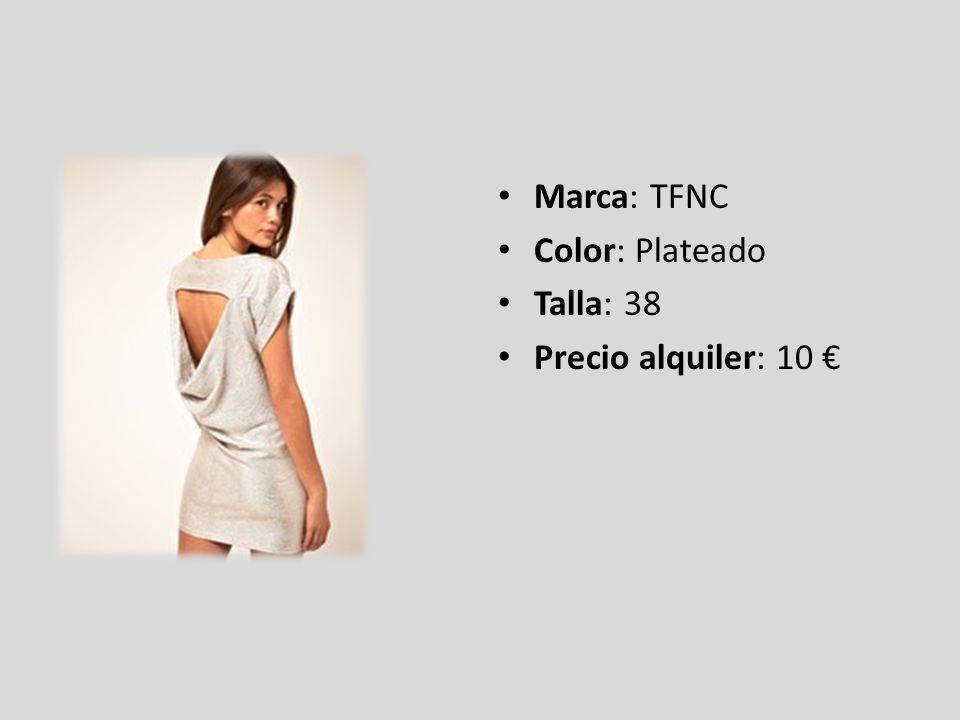 Marca: TFNC Color: Plateado Talla: 38 Precio alquiler: 10 €