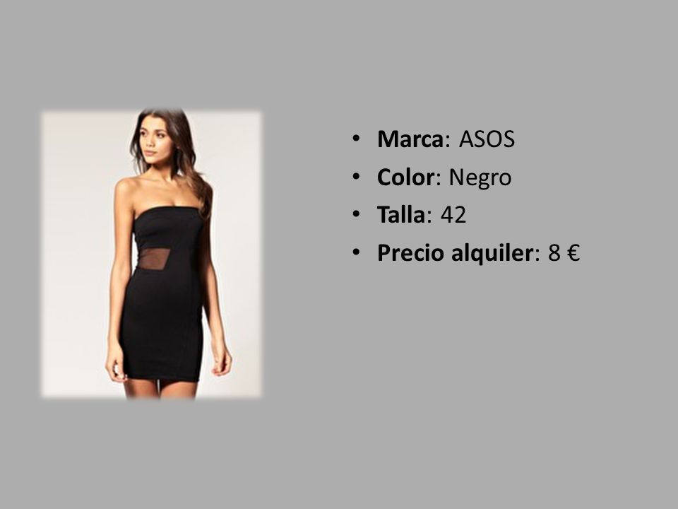 Marca: ASOS Color: Negro Talla: 42 Precio alquiler: 8 €