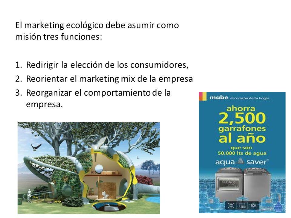El marketing ecológico debe asumir como misión tres funciones:
