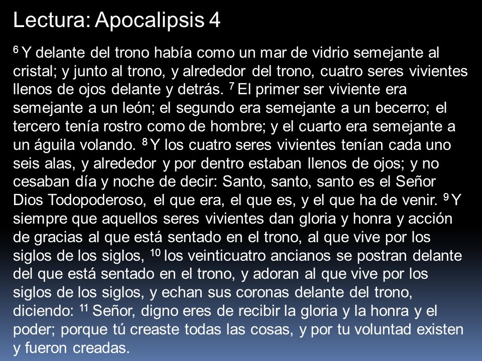 Lectura: Apocalipsis 4