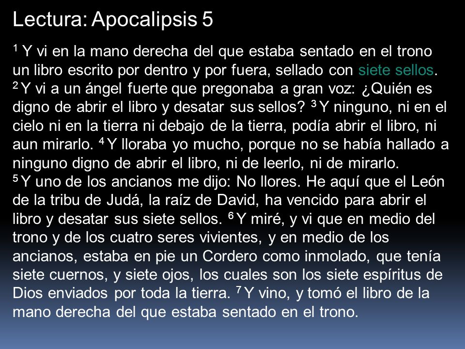 Lectura: Apocalipsis 5