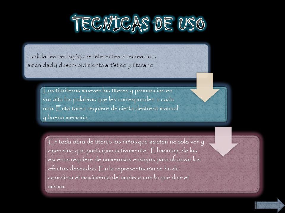 TECNICAS DE USO cualidades pedagógicas referentes a recreación, amenidad y desenvolvimiento artístico y literario.