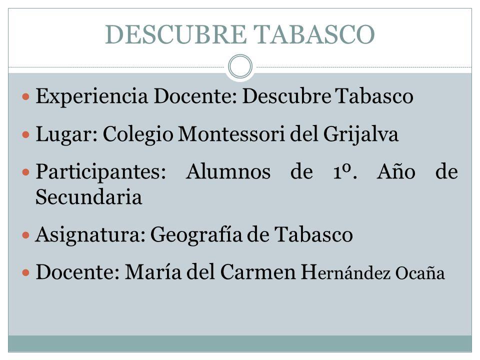 DESCUBRE TABASCO Experiencia Docente: Descubre Tabasco