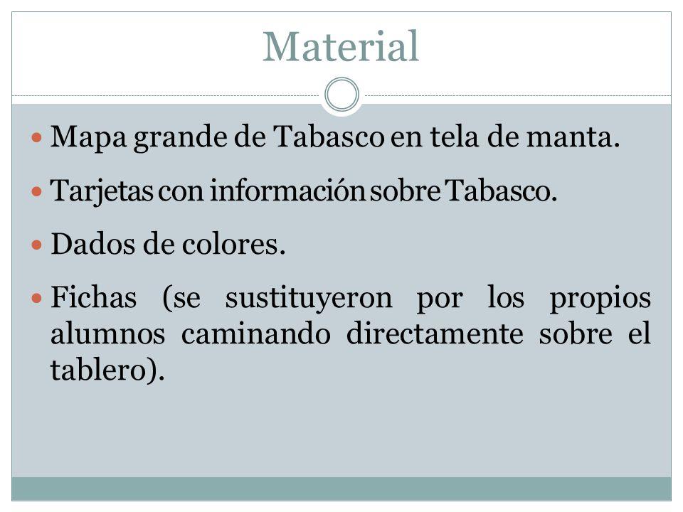 Material Mapa grande de Tabasco en tela de manta.