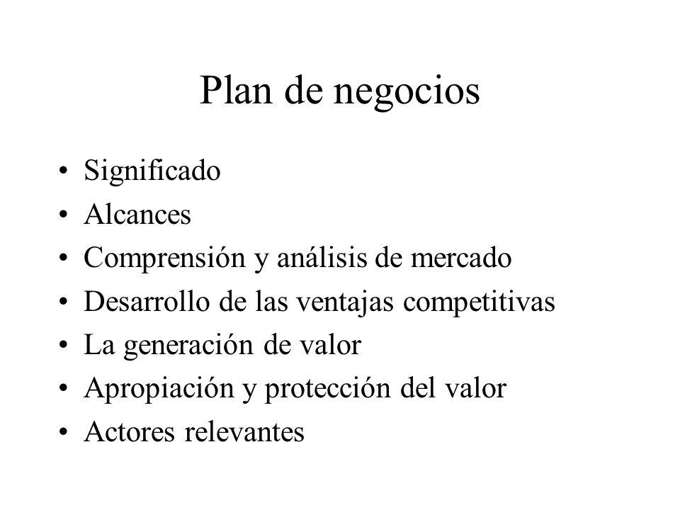 Plan de negocios Significado Alcances