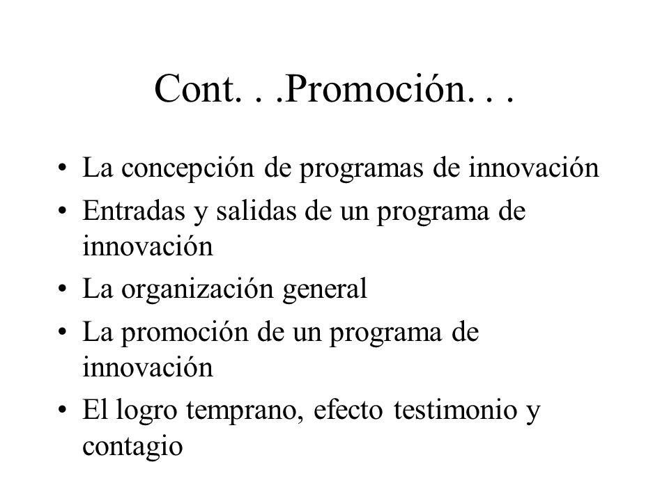 Cont. . .Promoción. . . La concepción de programas de innovación