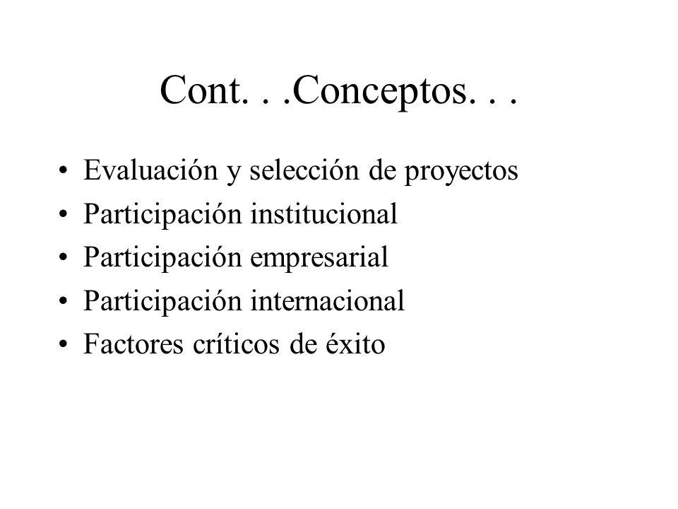 Cont. . .Conceptos. . . Evaluación y selección de proyectos