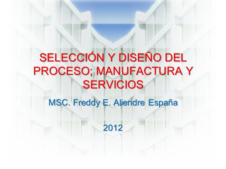 SELECCIÓN Y DISEÑO DEL PROCESO; MANUFACTURA Y SERVICIOS