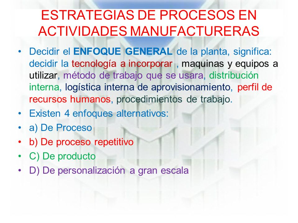 ESTRATEGIAS DE PROCESOS EN ACTIVIDADES MANUFACTURERAS