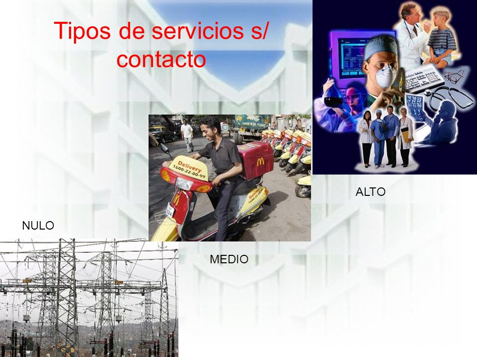 Tipos de servicios s/ contacto