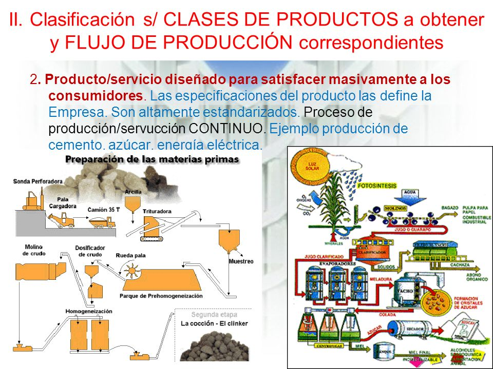 II. Clasificación s/ CLASES DE PRODUCTOS a obtener y FLUJO DE PRODUCCIÓN correspondientes