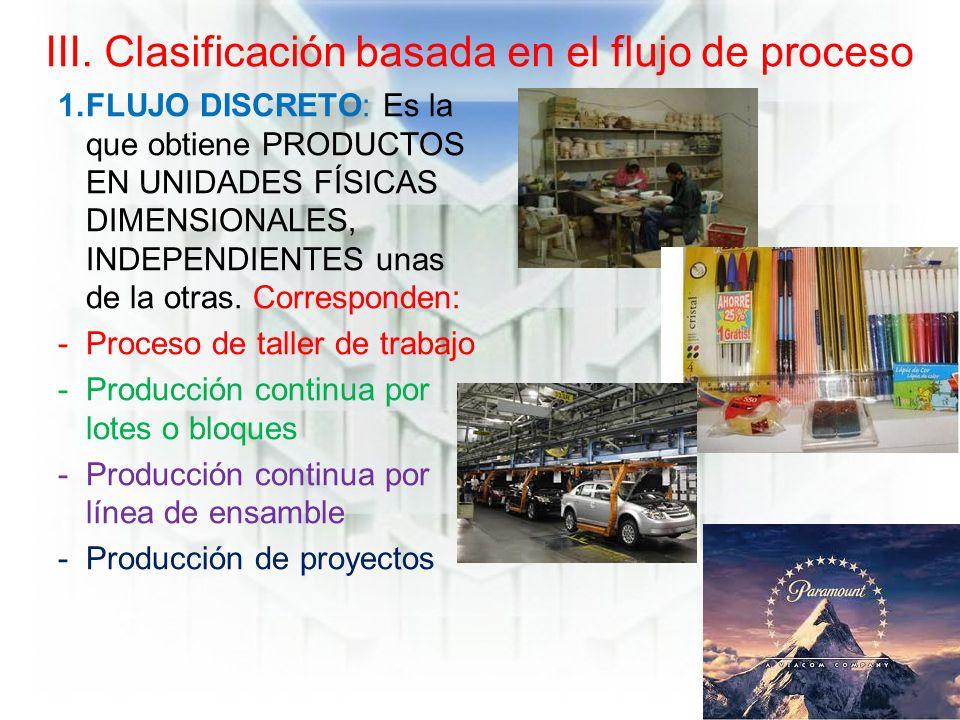 III. Clasificación basada en el flujo de proceso