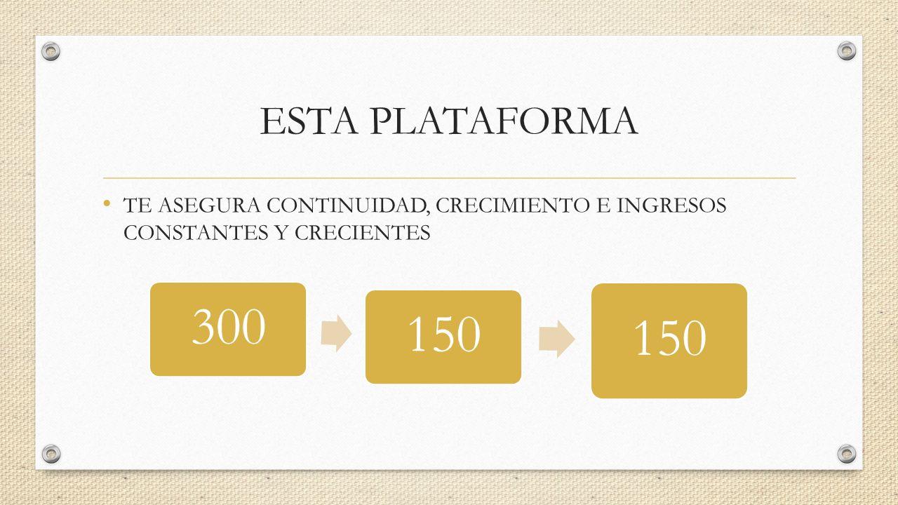 300 150 ESTA PLATAFORMA TE ASEGURA CONTINUIDAD, CRECIMIENTO E INGRESOS CONSTANTES Y CRECIENTES