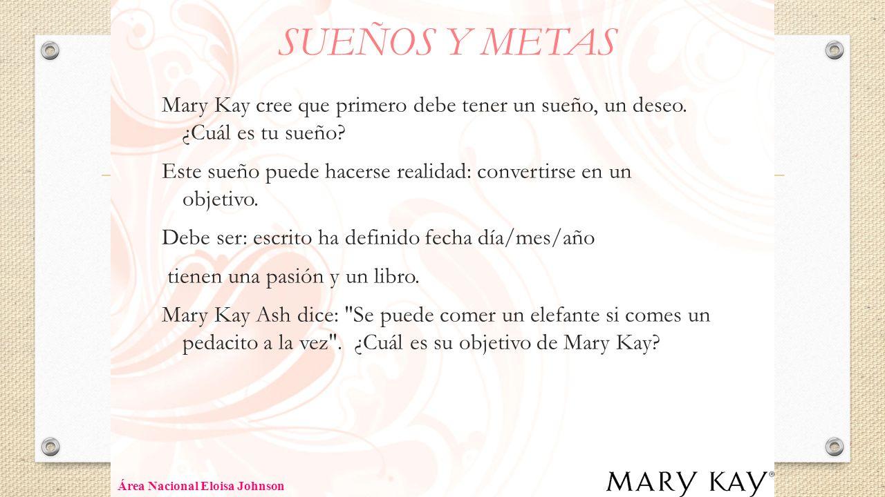 SUEÑOS Y METAS Mary Kay cree que primero debe tener un sueño, un deseo. ¿Cuál es tu sueño