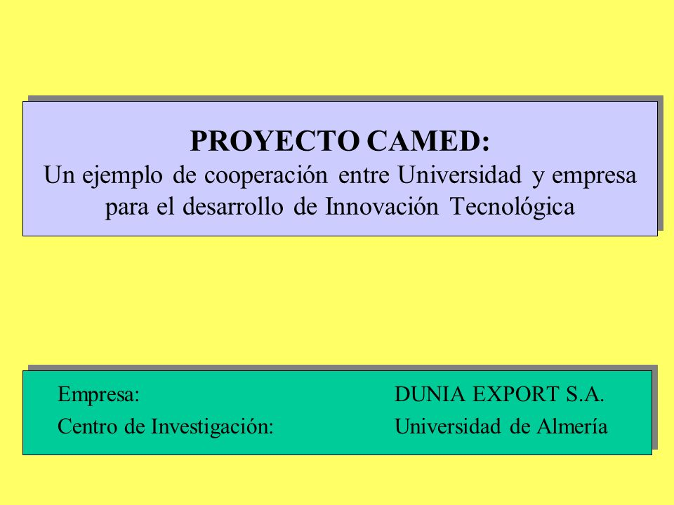 PROYECTO CAMED: Un ejemplo de cooperación entre Universidad y empresa para el desarrollo de Innovación Tecnológica