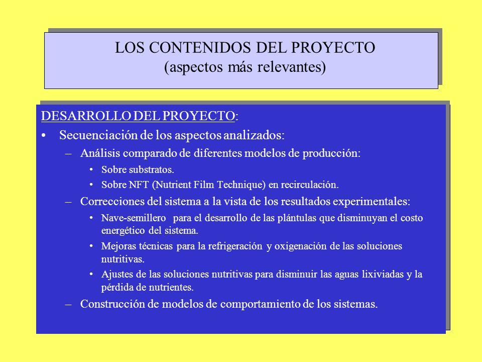 LOS CONTENIDOS DEL PROYECTO (aspectos más relevantes)