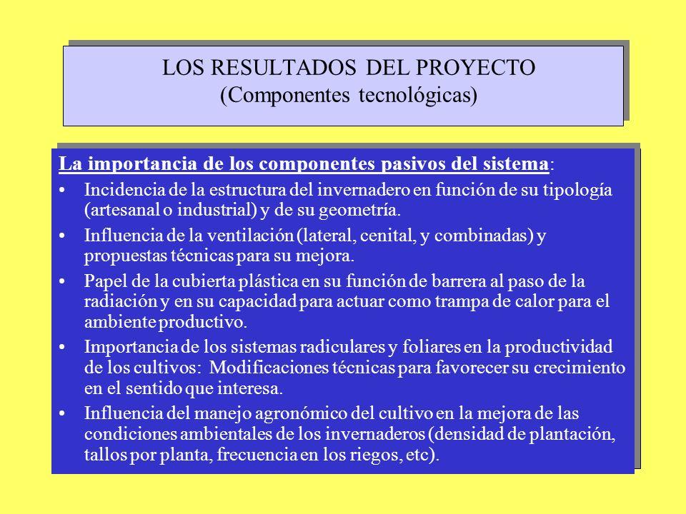 LOS RESULTADOS DEL PROYECTO (Componentes tecnológicas)