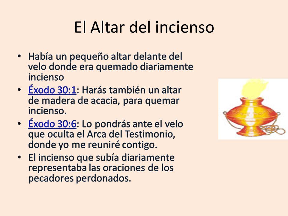 El Altar del incienso Había un pequeño altar delante del velo donde era quemado diariamente incienso.