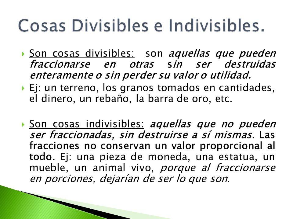 Cosas Divisibles e Indivisibles.