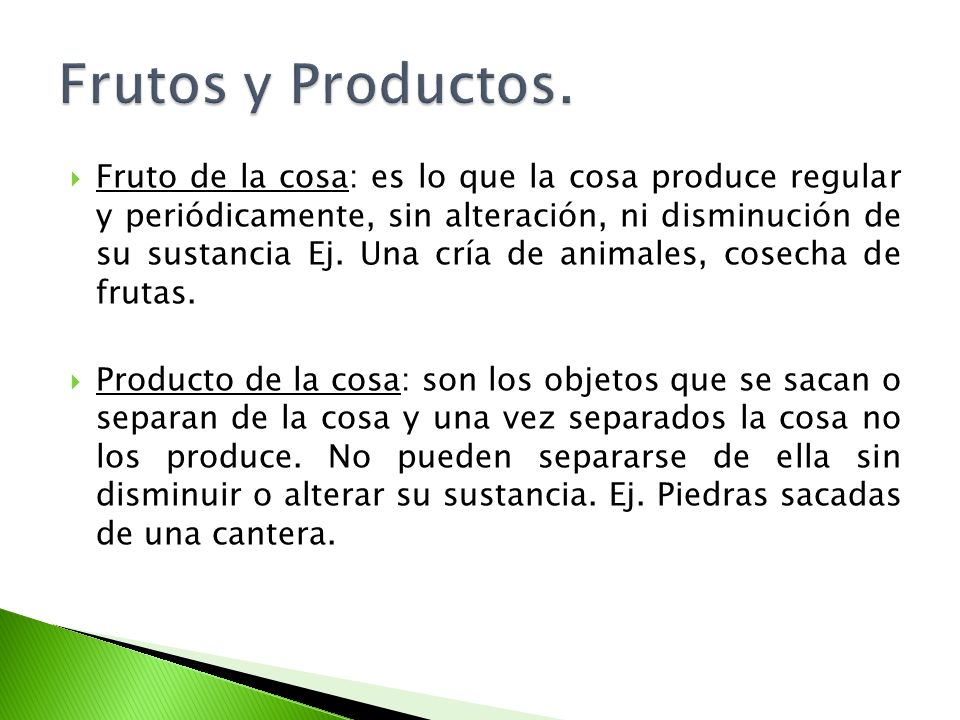 Frutos y Productos.