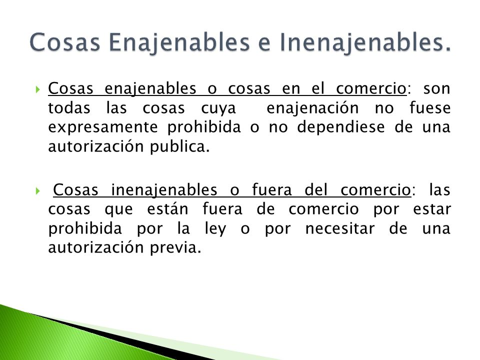Cosas Enajenables e Inenajenables.