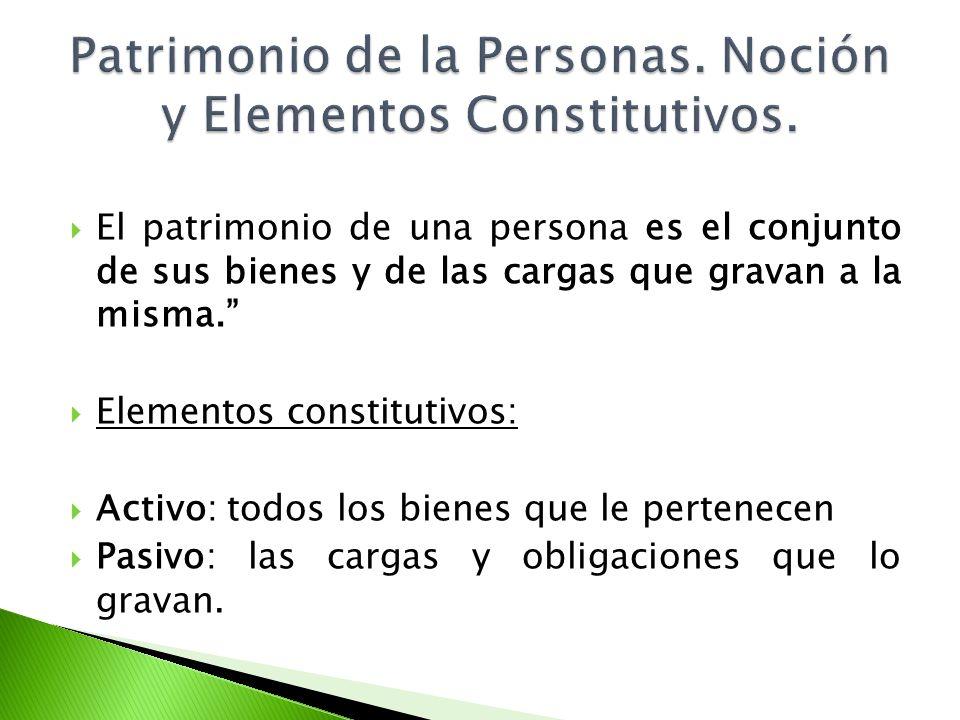 Patrimonio de la Personas. Noción y Elementos Constitutivos.