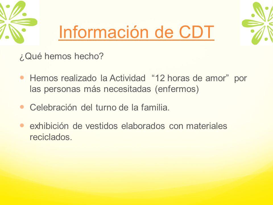 Información de CDT ¿Qué hemos hecho