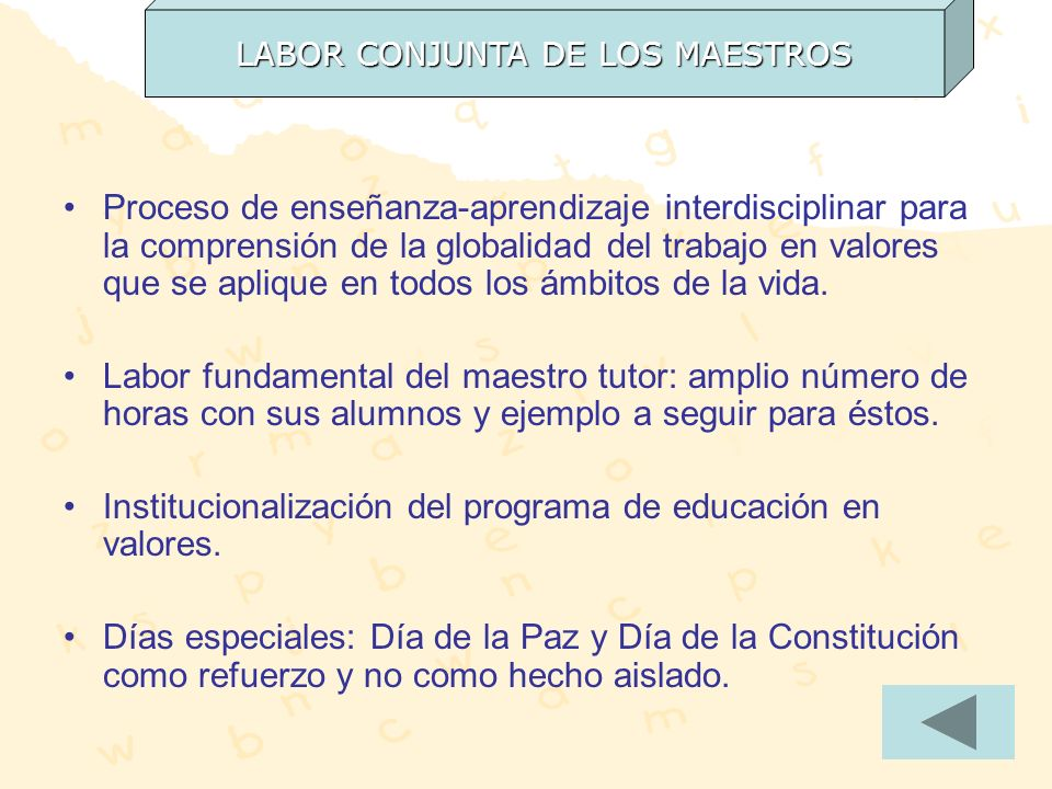 LABOR CONJUNTA DE LOS MAESTROS