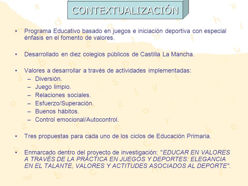 CONTEXTUALIZACIÓN Programa Educativo basado en juegos e iniciación deportiva con especial énfasis en el fomento de valores.