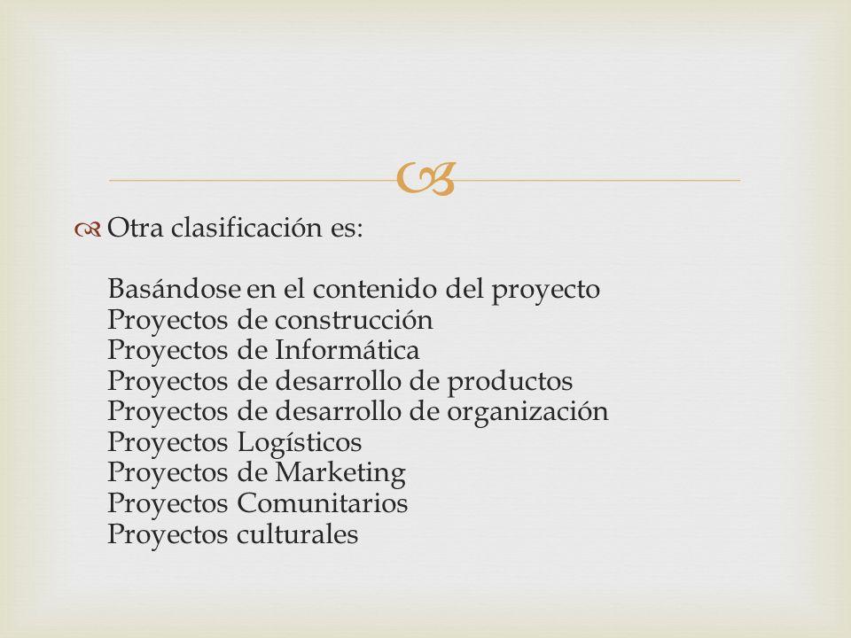 Otra clasificación es: Basándose en el contenido del proyecto Proyectos de construcción Proyectos de Informática Proyectos de desarrollo de productos Proyectos de desarrollo de organización Proyectos Logísticos Proyectos de Marketing Proyectos Comunitarios Proyectos culturales