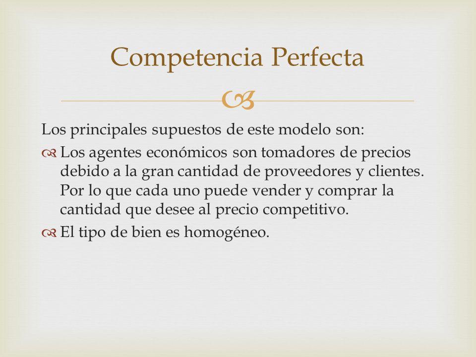 Competencia Perfecta Los principales supuestos de este modelo son: