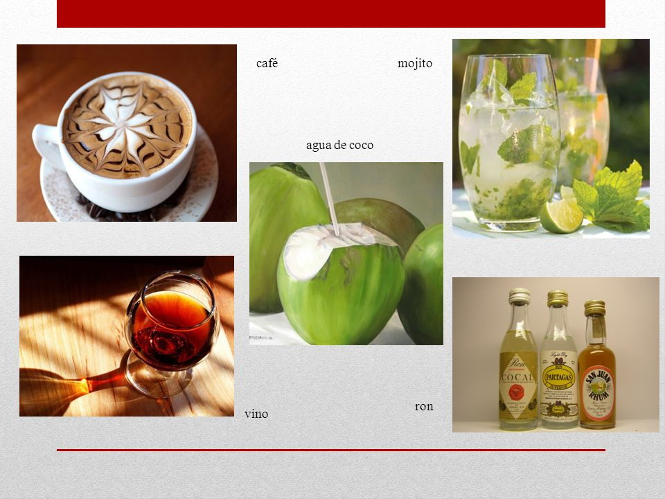 café mojito agua de coco ron vino