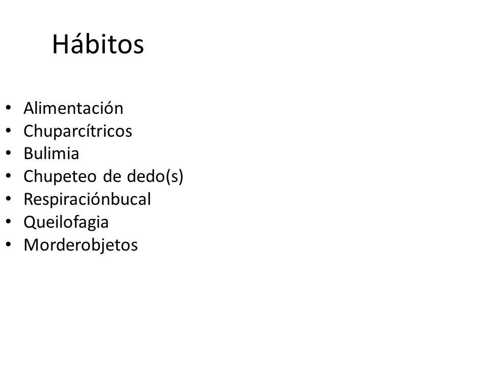 Hábitos Alimentación Chuparcítricos Bulimia Chupeteo de dedo(s)