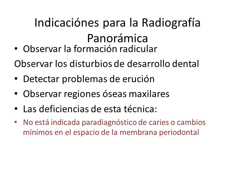 Indicaciónes para la Radiografía Panorámica
