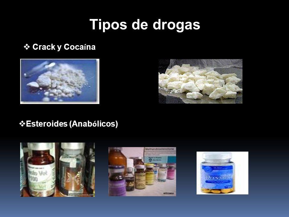 Tipos de drogas Crack y Cocaína Esteroides (Anabólicos)
