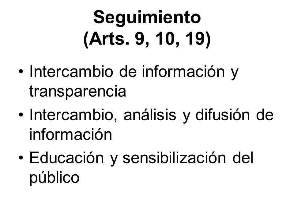 Seguimiento (Arts. 9, 10, 19) Intercambio de información y transparencia. Intercambio, análisis y difusión de información.
