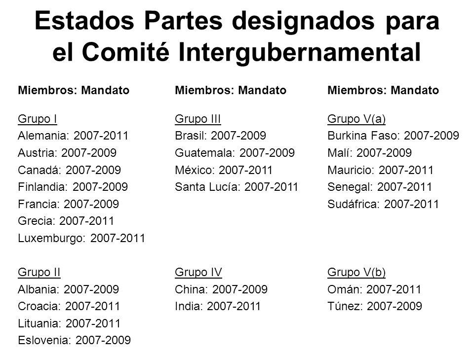 Estados Partes designados para el Comité Intergubernamental