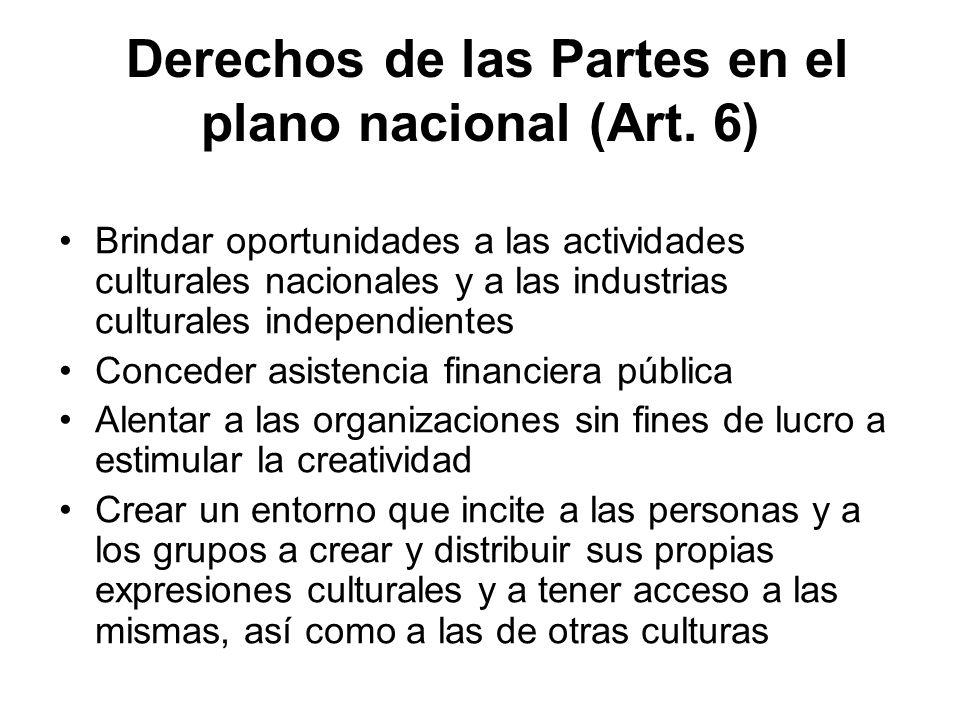 Derechos de las Partes en el plano nacional (Art. 6)