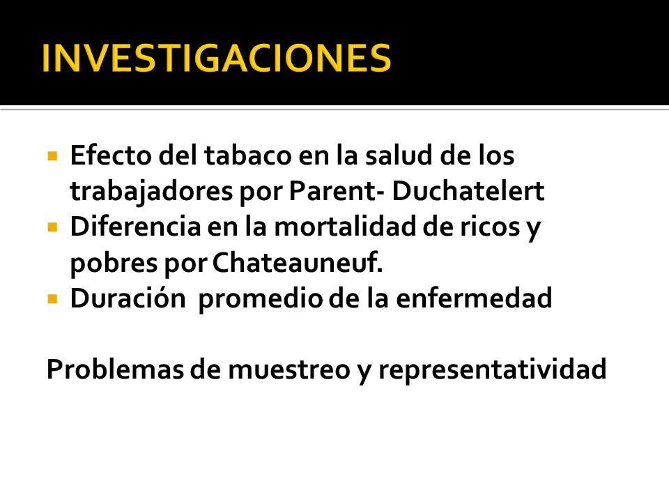 INVESTIGACIONES Efecto del tabaco en la salud de los trabajadores por Parent- Duchatelert.